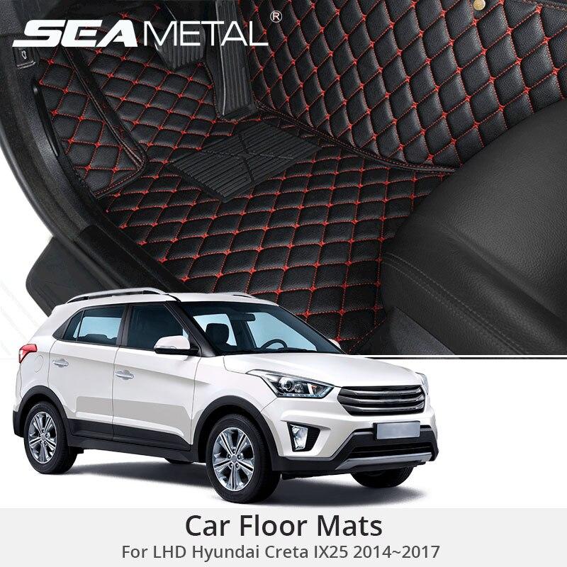 For LHD Hyundai Creta IX25 2017 2016 2015 2014 Car Floor Mats Rugs Auto Leather Cover