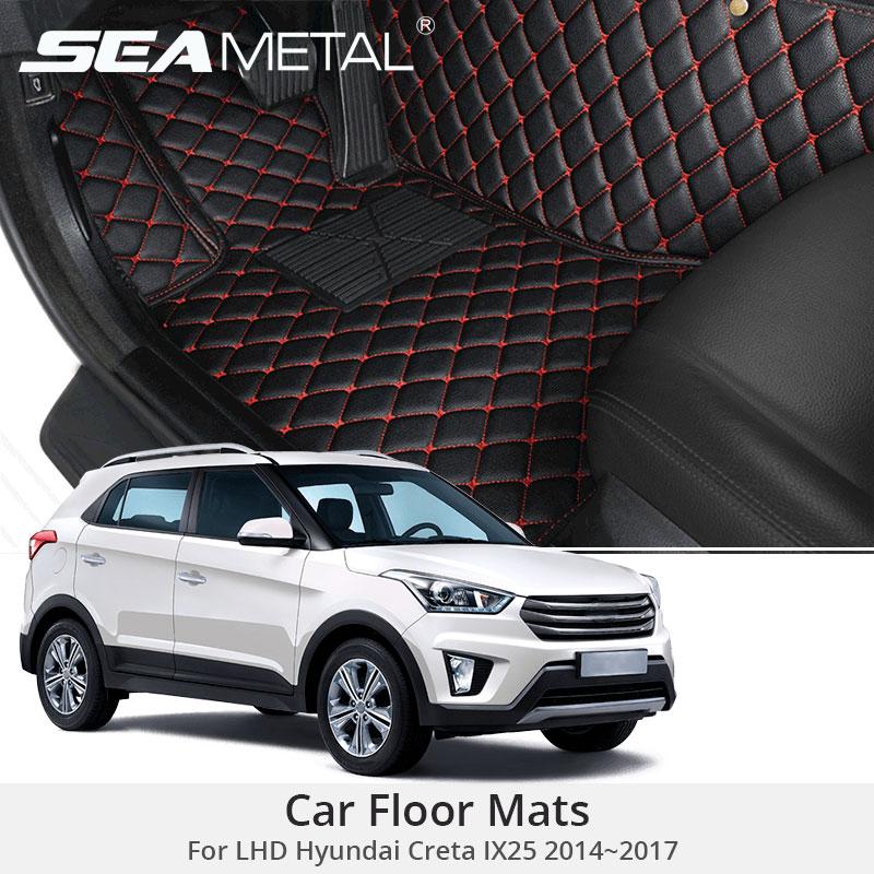 for lhd hyundai creta ix25 2017 2016 2015 2014 car floor mats rugs auto leather cover car. Black Bedroom Furniture Sets. Home Design Ideas