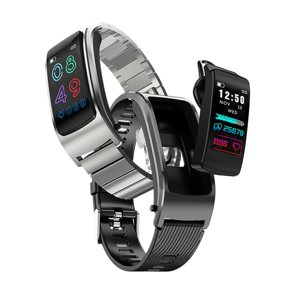 2 In 1 Bluetooth Earphone Smart Wristband Blood Pressure Heart Rate Monitor Calling Smart Watch Fitness GPS Track Sport Bracelet
