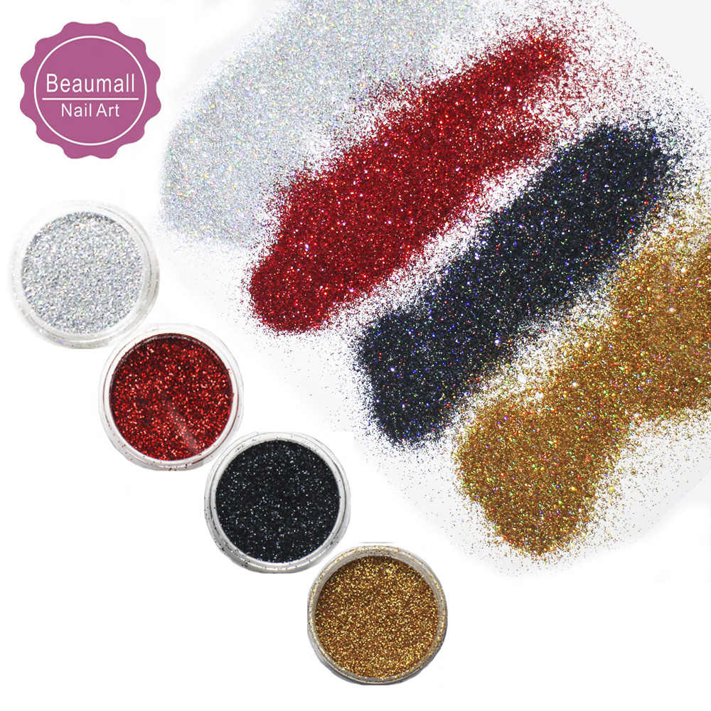2.5g/pot,0.2mm 008 Size Holographic Glitters Laser Powder Nail Glitters Set Manicure Nail Art Glitters Powder Dusts