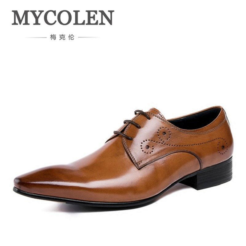 MYCOLEN Genuine Leather Men Shoes England Style Black Brown Wedding Casual Male Shoes Pointed Toe Formal Calzado Hombre Cuero pathfinder men s vulcanize shoes men leather high style casual retro comfortable flat shoes breathable male calzado hombre