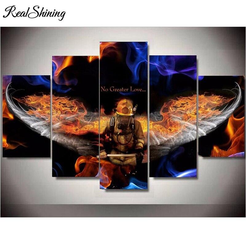 REALSHINING 5 шт., картина, вышитая бисером пожарный герой Мозаика площадь дрель полный алмазов вышивка Декор FS1520