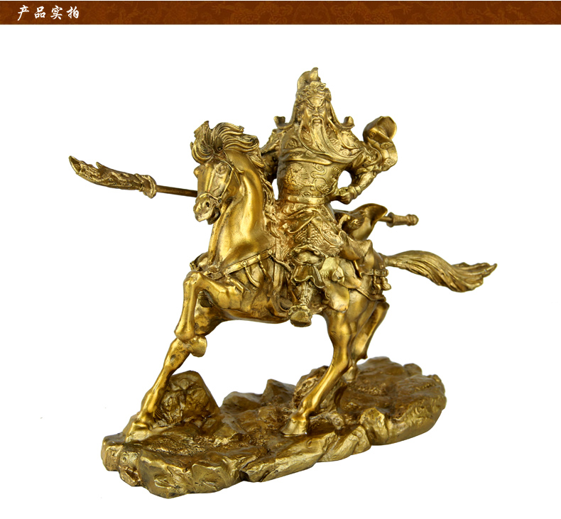 Bless the statue of Guan Ge genuine copper ornaments copper font b knife b font horse