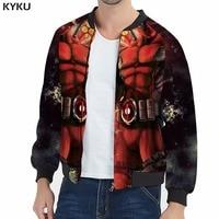 KYKU Deadpool Jacket Men Badass Jackets Zipper Anime Clothes Slim Fire 3d War Printed Jacket Hip Hop Mens Clothing Casual Summer