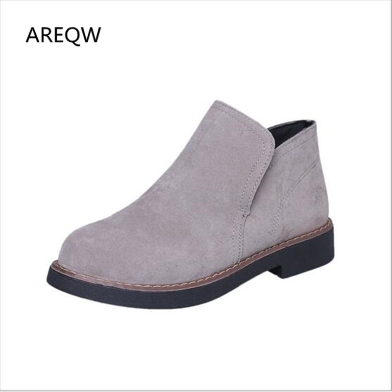 AREQW 2017 NEW Hot style Fashion women ankle boots Round head thick bottom sude leather waterproof woman Martin boots short boots woman the fall of 2017 a new restoring ancient ways british wind thick boots bottom students with martin boots