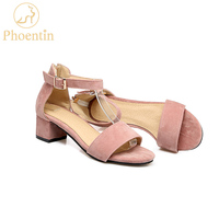 Phoentin ankle strap sandals women cover heel with zipper side open women sandals 2019 mid heel 4.5cm velvet shoes woman JY002