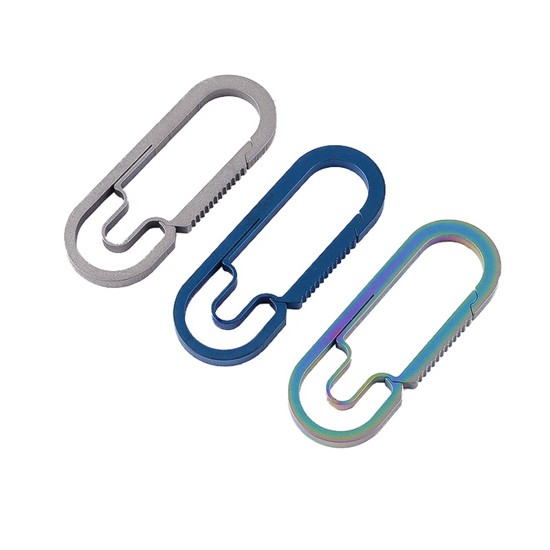 1pc Outdoor Camping Snap Safety Hook Maximum weight 25KG Pure Titanium Carabiner Key chain Hiking Key Ring Buckle