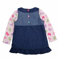 FREE SHIPPING Long Sleeve Girl Dress Fashion Clothes Kids Butterfly Sweety Heart Printed Jeans Princess Dress