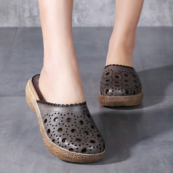 Nice Vintage Genuine Leather Women Summer Shoes Handmade Sandals Wedges Slides Hollow Out Women Slipper
