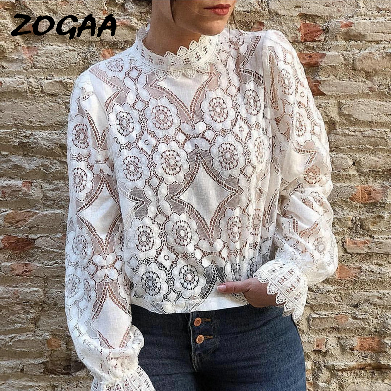 ZOGAA Elegant White Lace Blouse Shirt Sexy Hollow Out Embroidery Feminine Blouse Women Long Lantern Sleeve Summer Tops Female