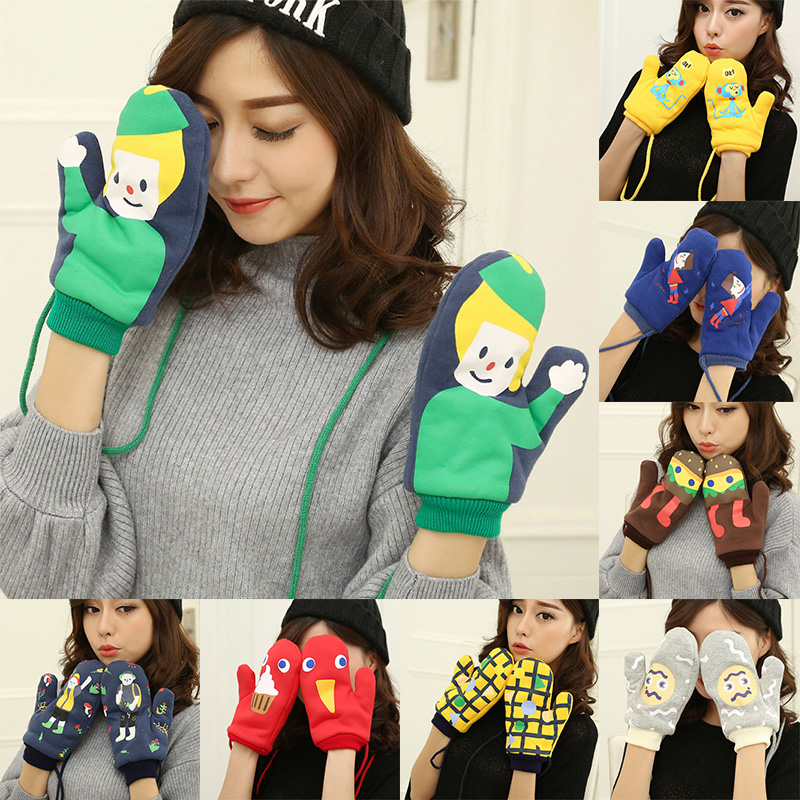 New Preppy Style Womens Winter Full Finger Unisex Velvet Funny 1Pair Cute Warm Gloves Jewelry Men Thicking Printed Cartoon