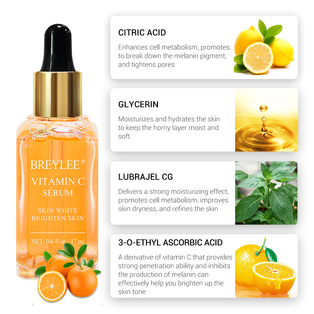 BREYLEE Vitamin C Serum Face Whitening Essence Brighten Skin Facial Skin Care Fade Dark Spots Remove Freckle Dark Circle Remover