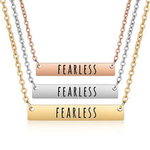 New Personalized Fearless Bar Pendant Necklaces Letter Engraved Clavicle Chain Charm Necklace 3 Colors Women Jewelry Best gift(China)