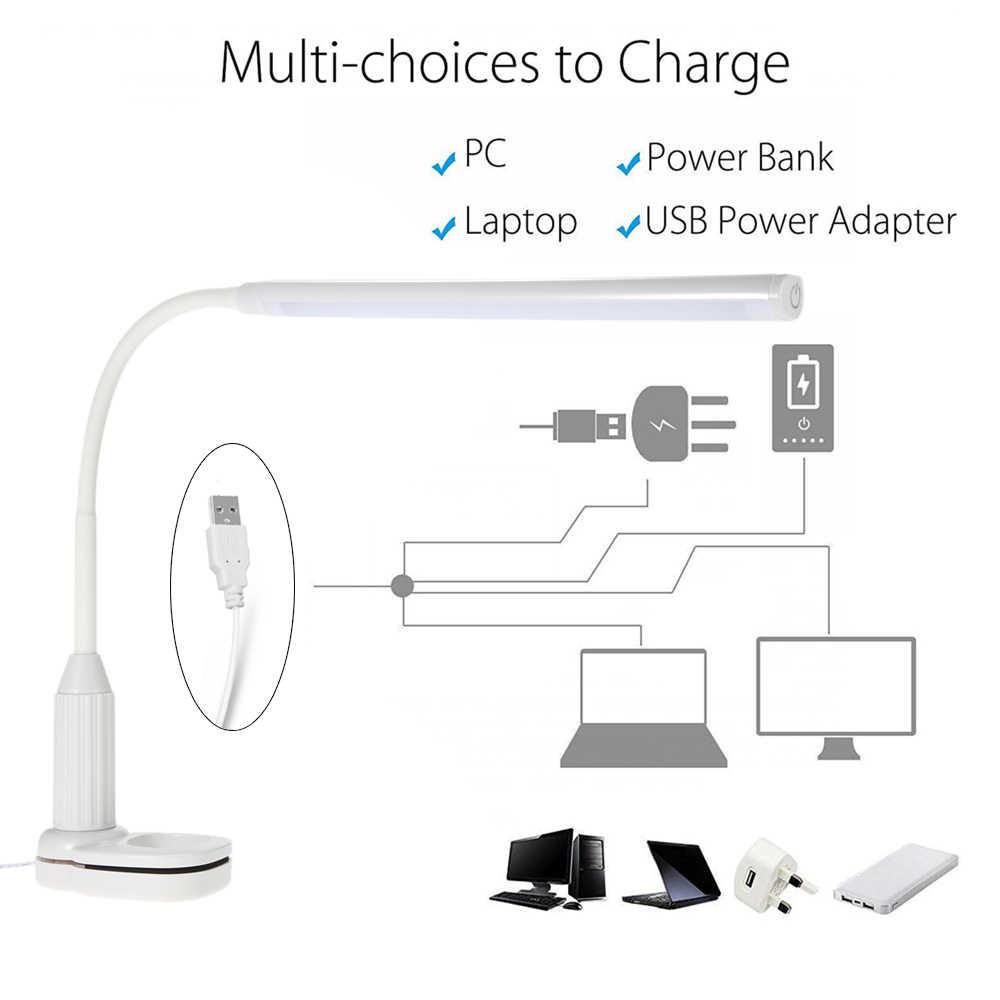 5W Tisch Lampe 24 LEDs Augenschutz Clamp Clip Licht Stufenlos Dimmbar Biegsamen USB Touch Sensor Control Flexible Lampe schreibtisch