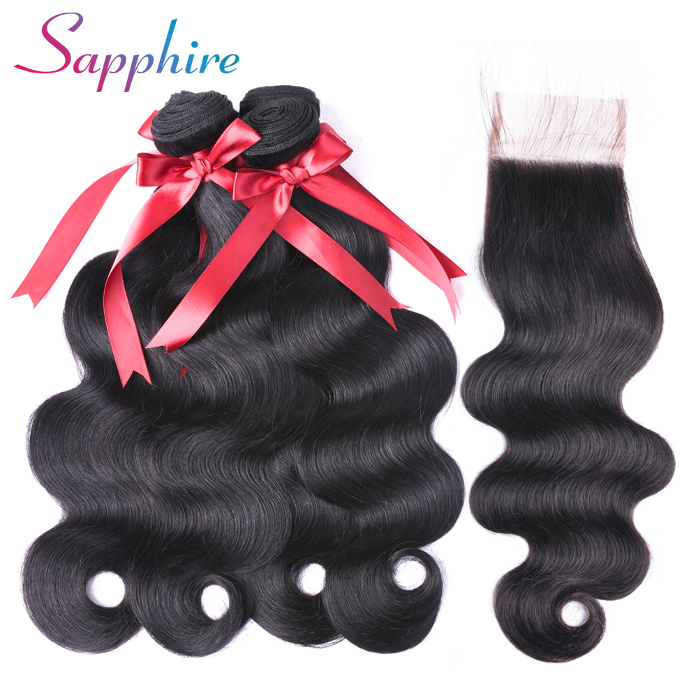 SAPPHIRE Brazilian Body Wave With Lace Closure 4*4 Pre Bleacked Free Part Human Hair 4 Bundles With Closure Non-Remy