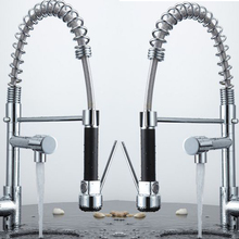 becola New Pull Out kitchen Faucet Chrome Water Power kitchen Sink Mixer Tap Two Handle Brass faucet 500cm high CH-8002