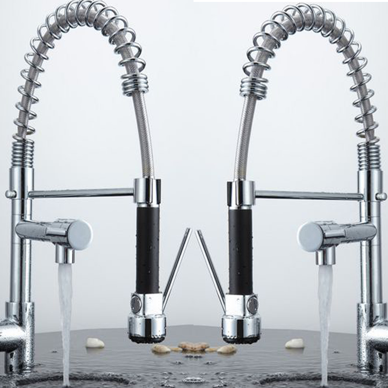 becola New Pull Out kitchen Faucet Chrome Water Power kitchen Sink Mixer Tap Two Handle Brass faucet 500cm high CH-8002 newly arrived pull out kitchen faucet gold sink mixer tap 360 degree rotation torneira cozinha mixer taps kitchen tap