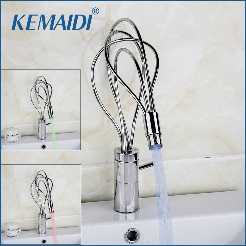 KEMAIDI New Fashionable Led Bathroom Basin Sink Faucet Stream Spout Faucet Led Faucet torneira Mixer Brass Chrome Water Faucet