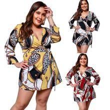 цены на Women Ladies Plus Size Holiday Summer V Neck Royal Ethnic Floral Print 3/4 Sleeve Mini Short Dress Sundress  в интернет-магазинах