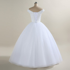 Image 4 - 2020 New Bling Bling Ball Gown Wedding Dress Off the Shoulder Bridal Wedding Gowns