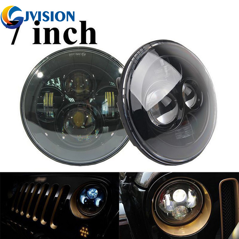 Pair 7'' Round Auto LED Projector for Jeep Wrangler JK TJ LJ AM General Hummer H4 H13 high Low Beam 7 inch 40W LED headlamp Bulb cree 7 40w led headlight high low beam round led driving lamp head lights for jeep wrangler jk tj lj cj for hummer h1 h2