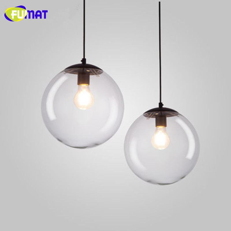 FUMAT Modern Simple Lamp Pendant Lights Indoor Lighting Dinning Room Bar Round Clear Glass Light Fixture For Kitchen modern tiffany glass led pendant lights lamp fixtures e27 220v for decor dinning room kitchen bar restaurant home lighting