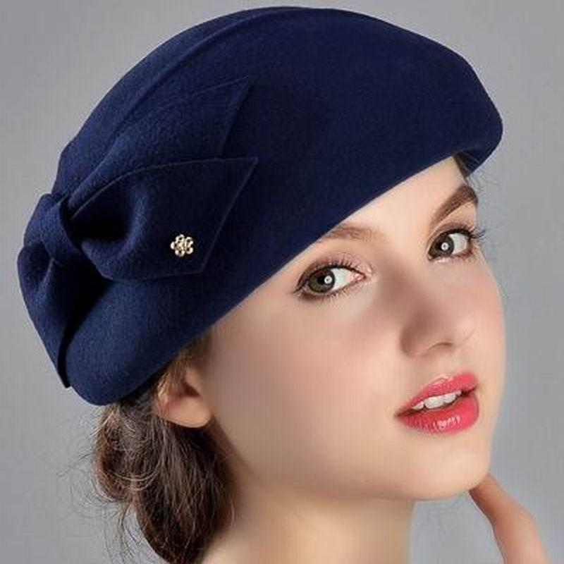 627b9464b26ed 100% Wool Women Fashion Fedoras Lady Elegant British Style Double Flower Beret  Hats Painter Cap