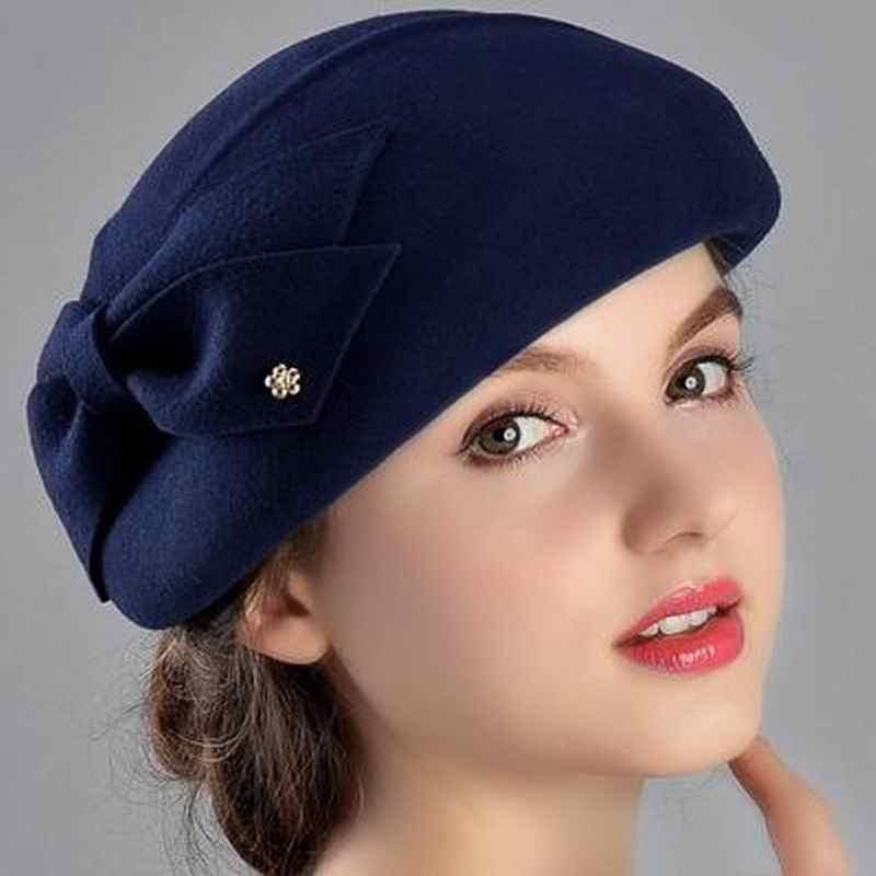 890c0f6af8c 100% Wool Women Fashion Fedoras Lady Elegant British Style Double Flower Beret  Hats Painter Cap