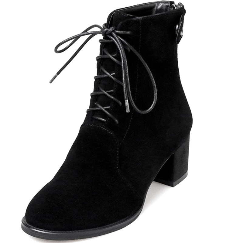 ФОТО autumn Ankle boots round toe woman casual shoes Women boots heel height 7.5cm woman party shoes Strange Style