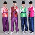 2016 Новый Корейский мужская Традиционный Корея Мужской Ханбок Дворец Костюм Этнического Танца Выполнение Одежда