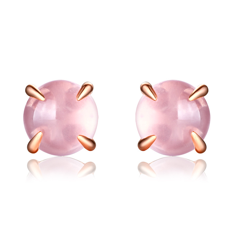 YESWOMEN Classic Round 925 Sterling Silver Natural Rose Quartz Stud Earrings for Women Fine Jewelry