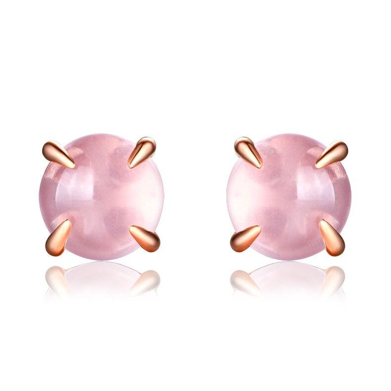 YESWOMEN Classic redondo 925 Plata de ley Natural rosa cuarzo Stud pendientes para mujeres joyería fina-in Pendientes from Joyería y accesorios    1