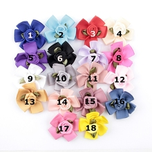 Wholesale 120pcs/lot 1.8 Artificial Ruffled Rose Fabric Flowers For Headwear DIY Satin Ribbon Petal Flower Hair Accessories