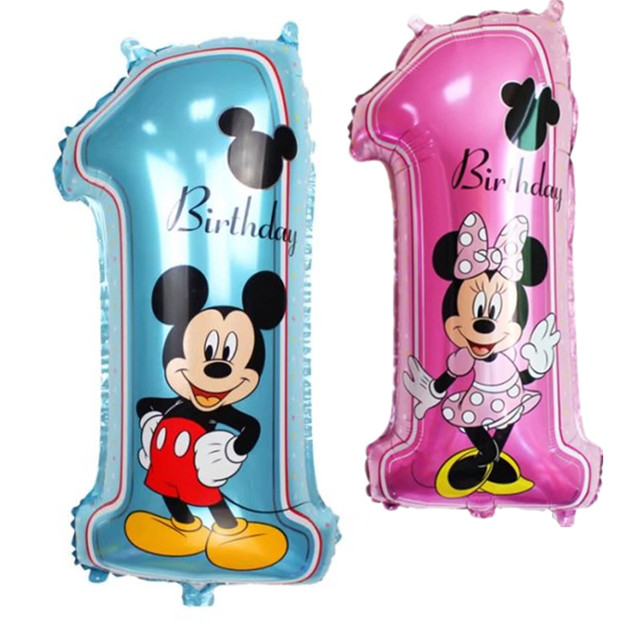 XXPWJ Free Shipping 1pc Minnie Mickey 1 Year Birthday Aluminum Balloon Party Toy Party Decorative Balloon Wholesale