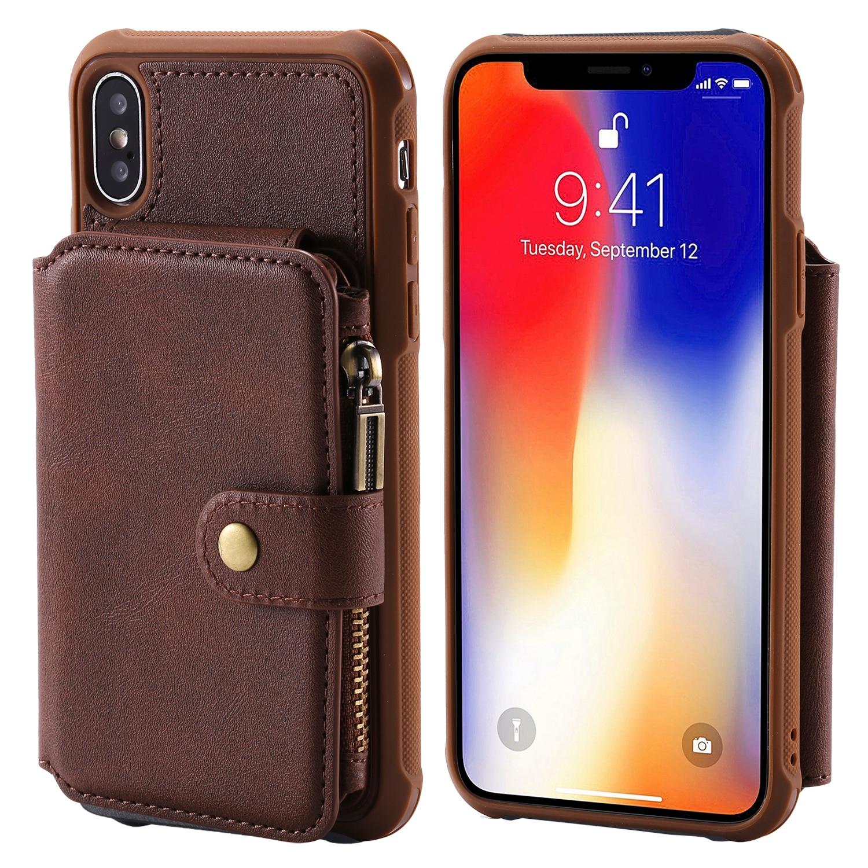 Carteira de Couro Com Zíper para O Iphone XR X XS MAX 8 7 6 Plus Samsung Galaxy Note 9 8 S9 S8 caso Tampa Do Cartão de Crédito Stand Álbum