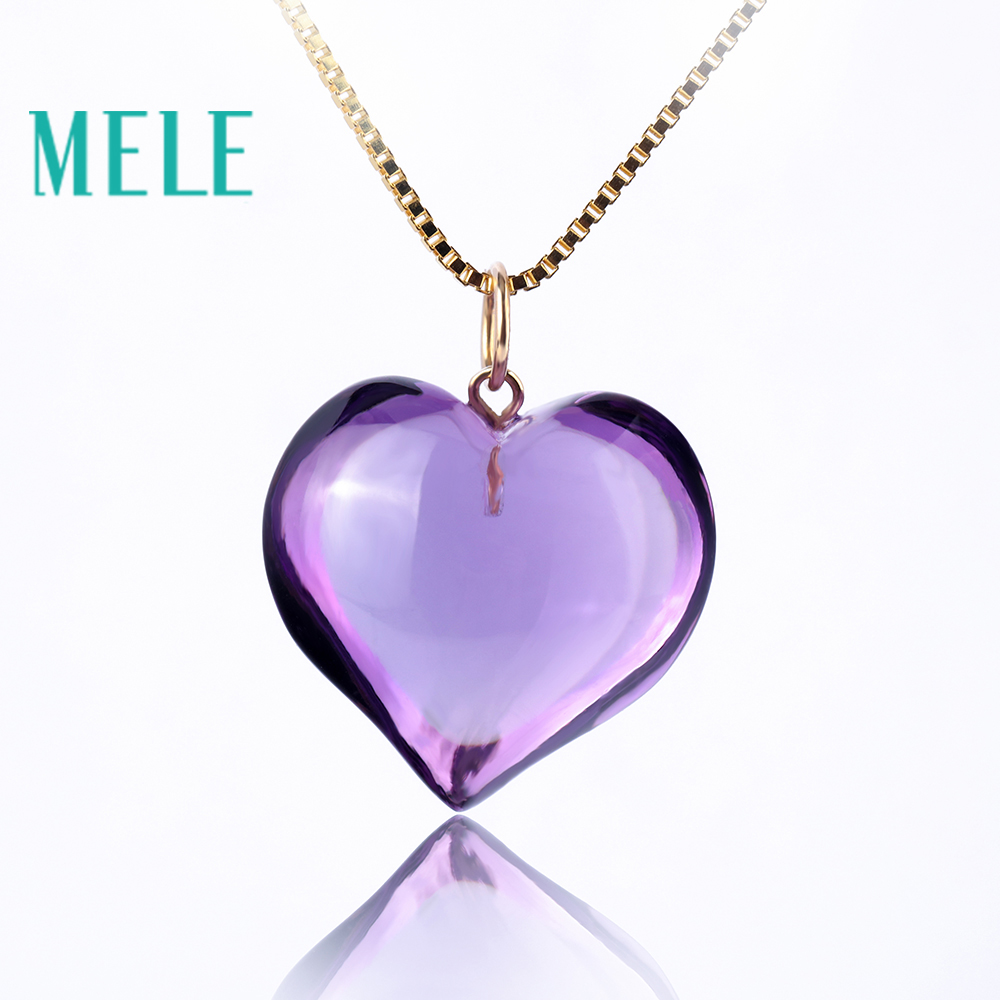 Natural amethyst real 18K gold heart pendant for women and man,fashion and simple jewelry with high quality,gift for lovers yoursfs heart necklace for mother s day with round austria crystal gift 18k white gold plated