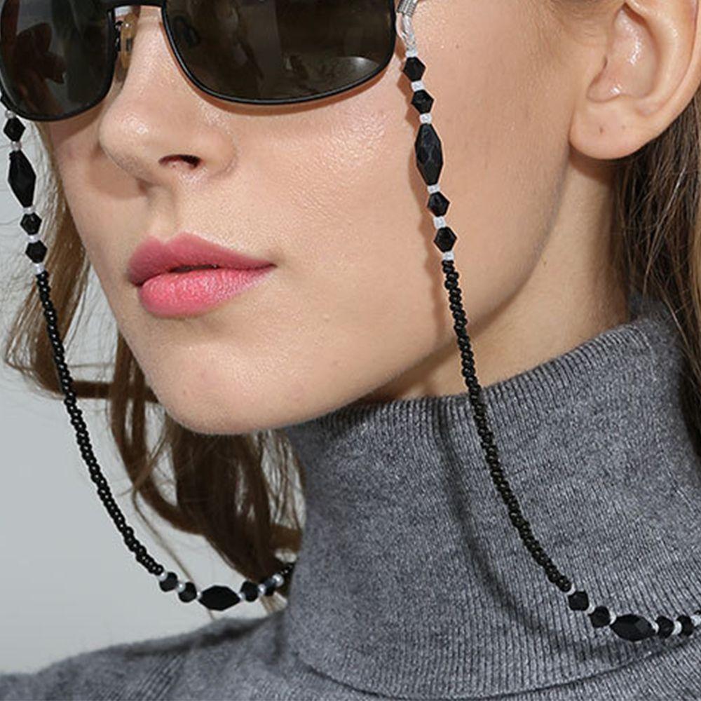 Corrente feminina, correntes de óculos para mulheres da moda, preto, acrílico, anti-derrapante, com tira para pescoço, óculos de leitura
