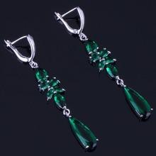 Splendid Water Drop Green Cubic Zirconia 925 Sterling Silver Drop Dangle Earrings For Women V0814 trendy heart shaped round green cubic zirconia 925 sterling silver drop dangle earrings for women v0830