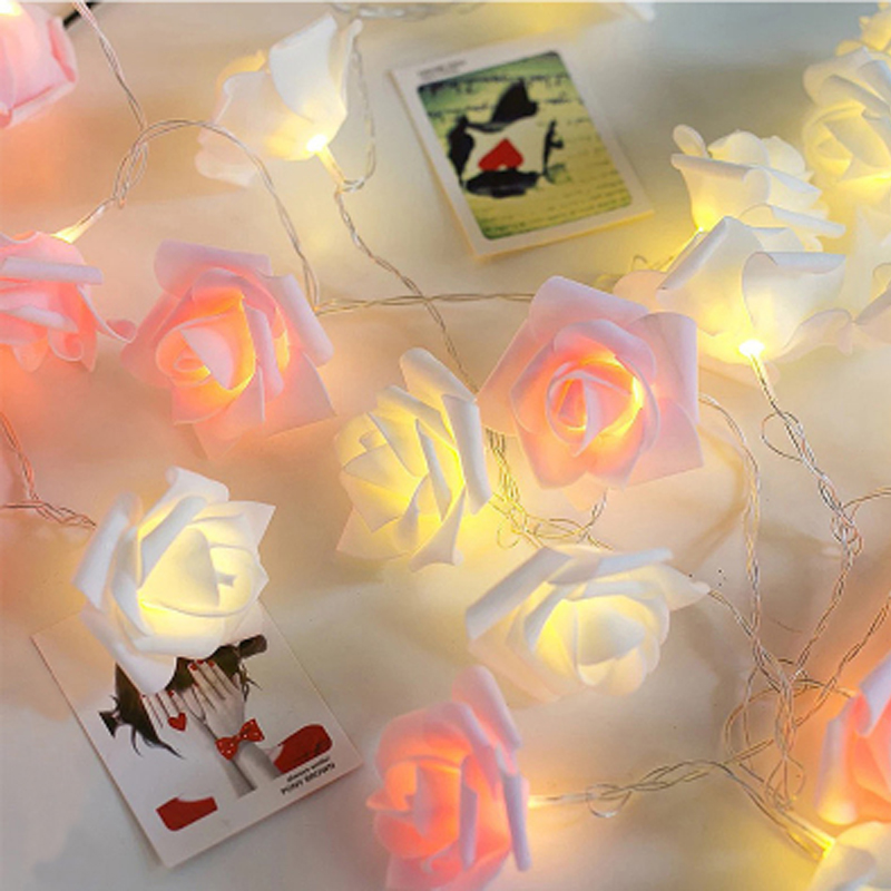 1.5/3/4.5/6M LED Garland Artificial Flower Bouquet String Lights Foam Rose Fairy Lights For Valentine's Day Wedding Decoration