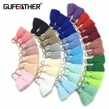 GUFEATHER L31/2cm Tassel/cotton tassel bursh /Golden ring/Earring tassels /jewelry accessories/diy accessories/jewelry making