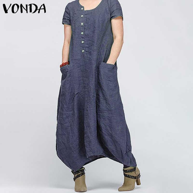 VONDA женское винтажное длинное платье макси 2019 О-образным вырезом асимметричное мешковатое карманы повседневное свободное женское пляжное платье Vestidos плюс размер