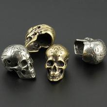 Czaszka mosiądz indyjski nóż koraliki linka do parasola koralik kwiat na zewnątrz ziarna czaszki Paracord koraliki tanie tanio CAMISUENO Paracord accessory Yellow Silvery Skull Knife Beads Knife Lanyard Beads