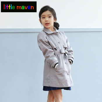 Spring Autumn Trench for Girls Graceful Jacket&Coat for Teenagers in Sashes Tiered Pink Grey Cotton Big Girl Clothes 2017 Brand