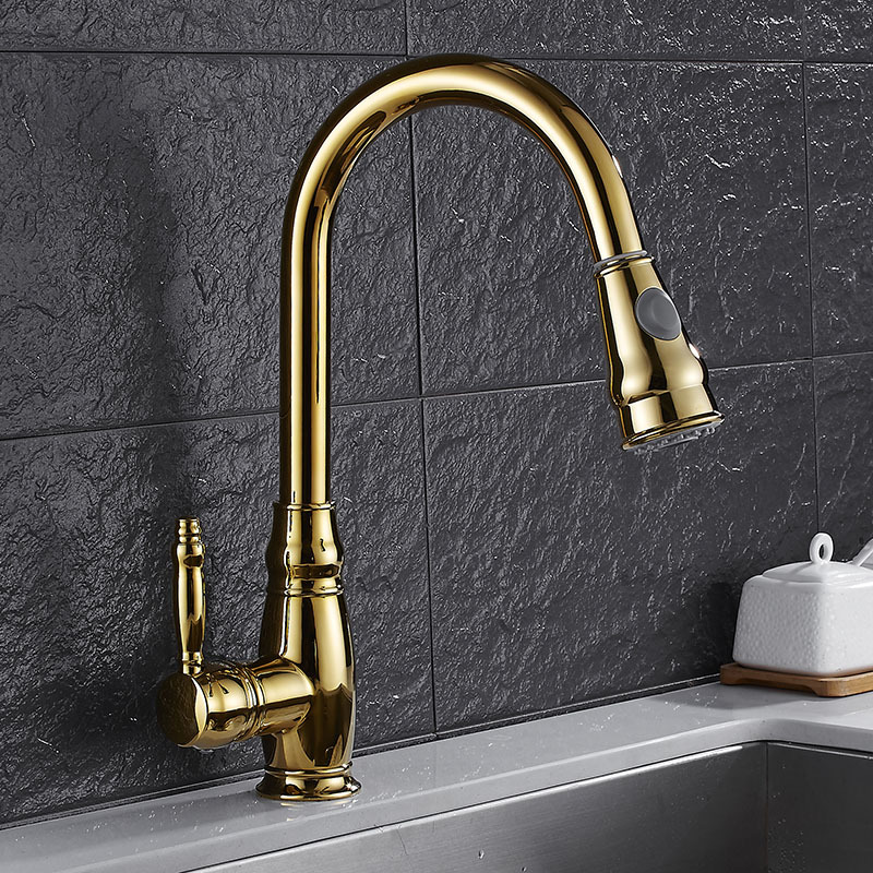 Kitchen Faucets Brass Chrome Polished Golden Basin Faucet Pull Out Single Handle Sink Mixer Tap Hot Cold 360 Degree Deck Mounted 360 degree swivel two spouts kitchen faucet pull out deck mounted brass polished chrome basin hot cold water mixer tap
