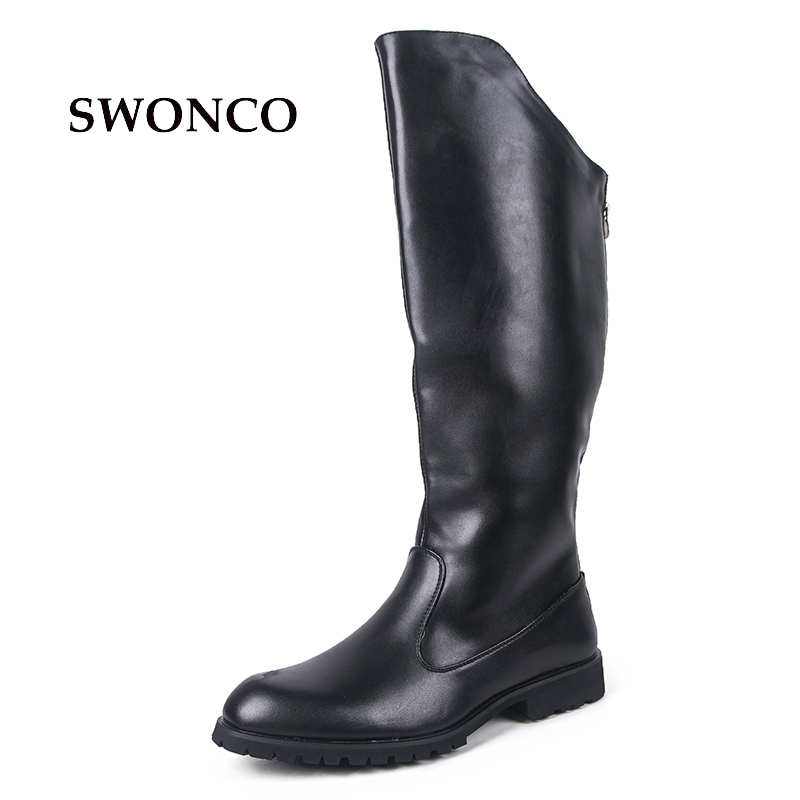 SWONCO Men's High Boot 2018 Winter PU Leather Black Color Male Shoes Leather Winter Boots Men Shoes Warm Men Riding Boot недорго, оригинальная цена
