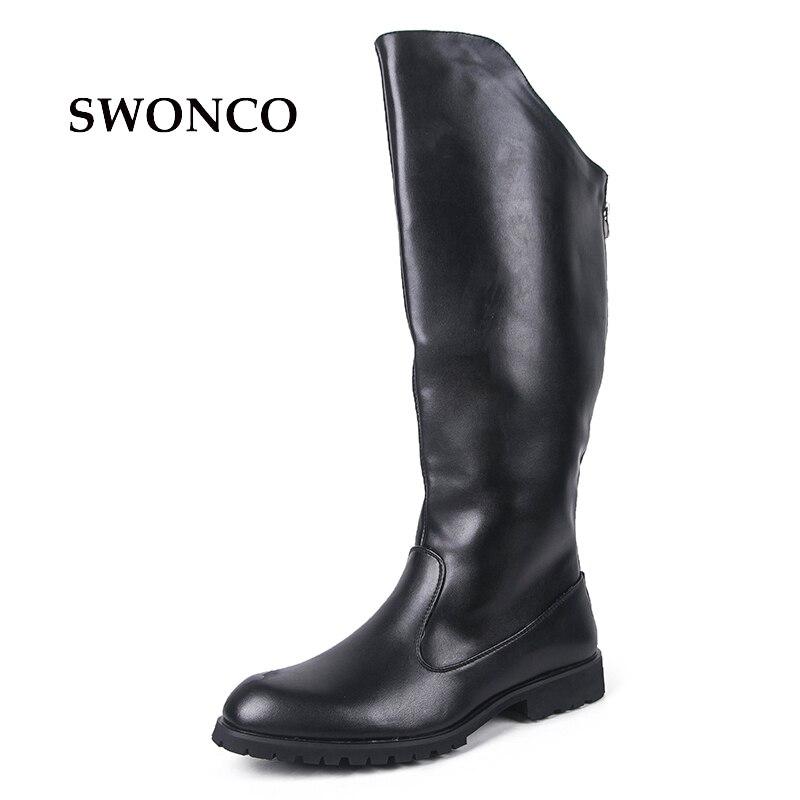 SWONCO Men's High Boot 2018 Winter PU Leather Black Color Male Shoes Leather Winter Boots Men Shoes Warm Men Riding Boot