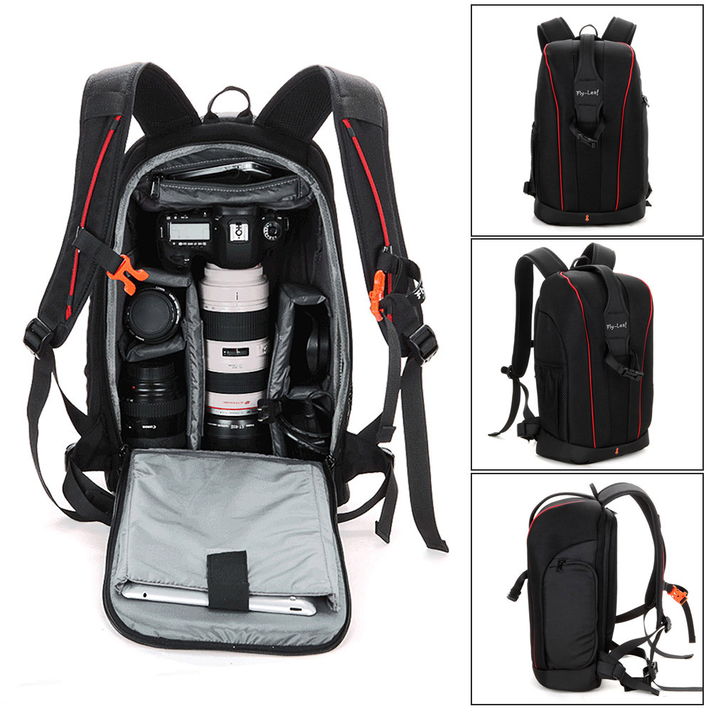 Black Photography Camera Backpack Bag Case Lens Tripod Bag Padded Water resistant for Nikon Canon Sony