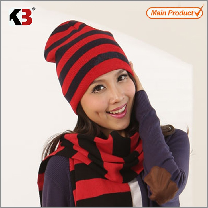 2016 New Arrival Winter Women Men Unisex Knitted Spring Hat   and Scarf Set Casual Beanies Striped Skullies Bonnet Beanie Scarf skullies 2017 new arrival hedging hat female autumn and winter days wool cap influx of men and women scarf scarf hat 1866729