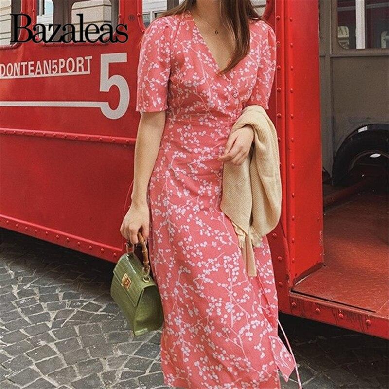 Bazaleas 2019 Old Pink Hydrangea Printed Midi Dress Fashion Summer Dress Vintage Button And Tie In Front Dresses Vestidos