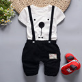 Newborn Infant Baby Girls Boys Spring Short Sleeves Cotton Clothes Suit 2 Pcs Baby Unisex Cartoon Casual Strapped Clothing Set